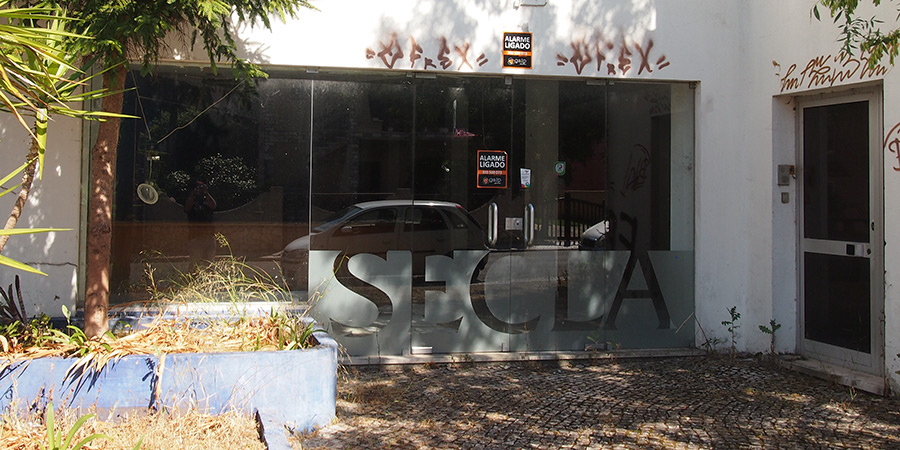 Den gamla butiken för fabriksförsäljning hos SECLA i Caldas da Rainha